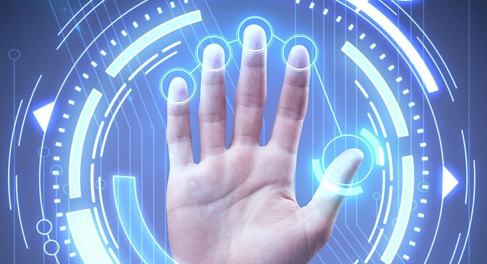 Data Security, hand with hologramm